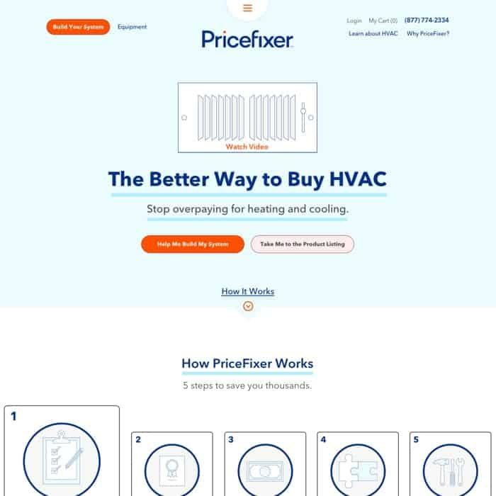 PriceFixer website design