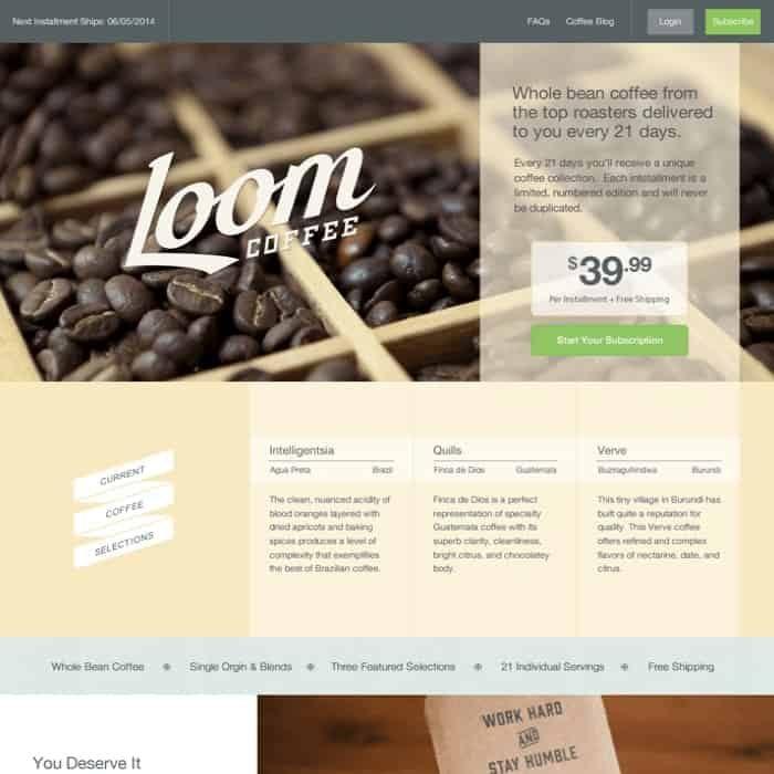 Loom Coffee website design