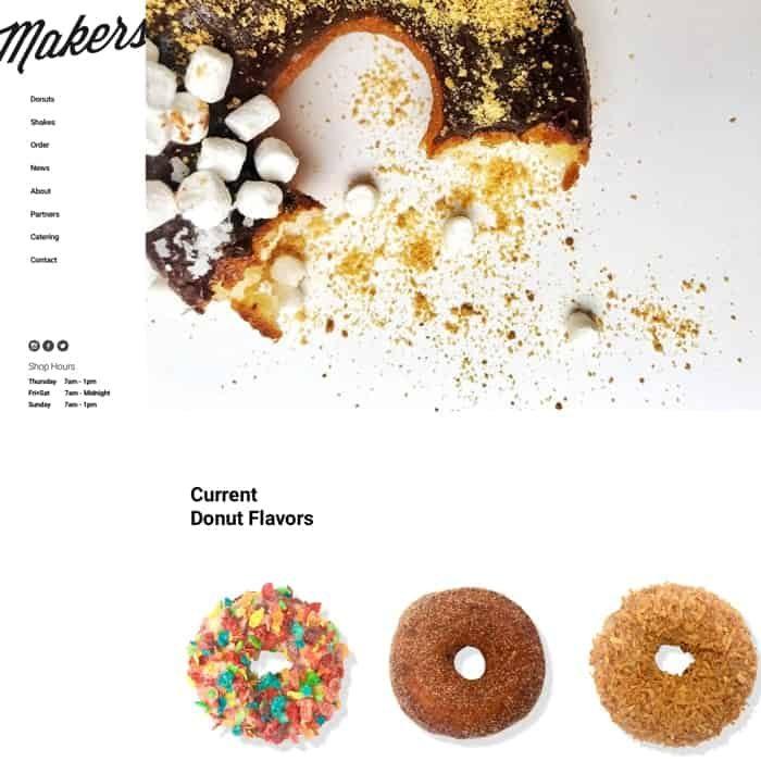 Makers Donuts website design