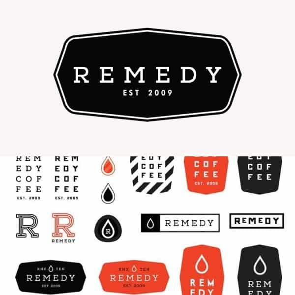 remedy coffee logo design and branding