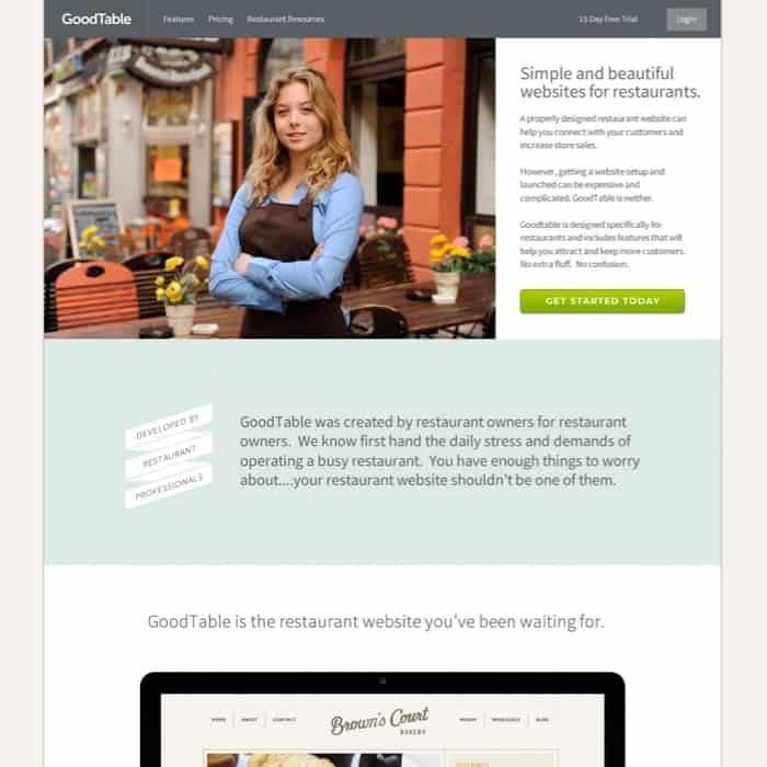 GoodTable Restaurant web design